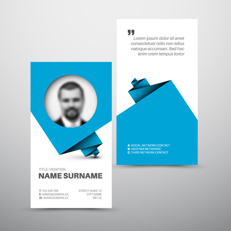 internet profile: Modern simple light business card template with photo profile