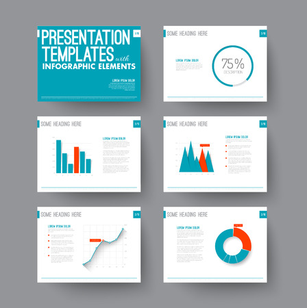 Vector Template for presentation slides with graphs and charts - blue and red version Stock Illustratie
