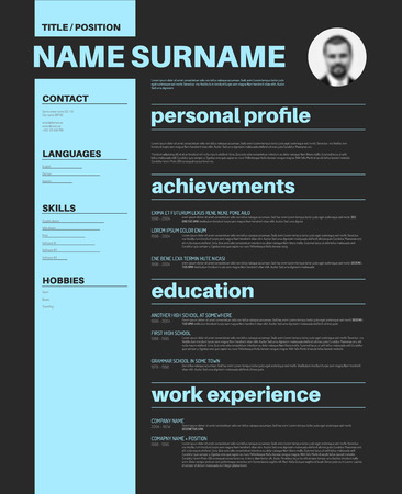 Vector minimalist cv  resume template with nice typogrgaphy design Illustration