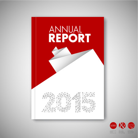 Modern Vector abstract red brochure / book / flyer design template with white paper Illustration