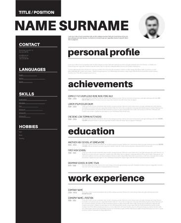 personal profile: Vector minimalist cv  resume template with nice typogrgaphy design Illustration