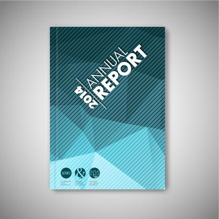 Modern Vector abstract brochure / book / flyer design template - blue polygon version Stock Illustratie