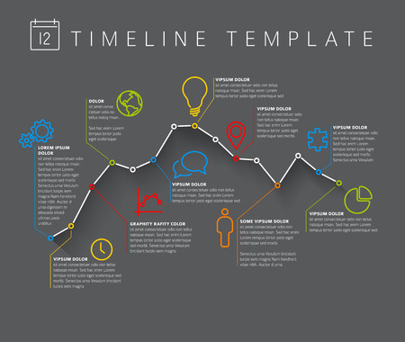 minimalistic: Vector dark Infographic timeline report template with minimalistic graph Illustration
