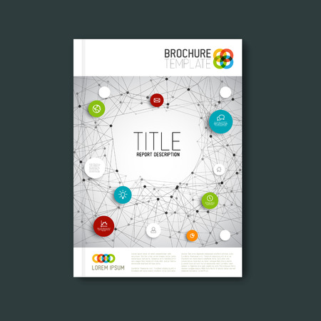 Moderne Vector abstracte brochure, rapport of flyer design template Stock Illustratie