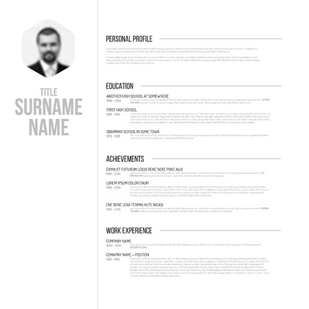 document: Vector minimalist black and white cv  resume template design with profile photo