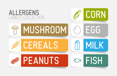 allerg�nes: label Vector set pour les allerg�nes (lait, poisson, oeuf, gluten, bl�, noix, le lactose, le ma�s, champignons) - version couleur Illustration