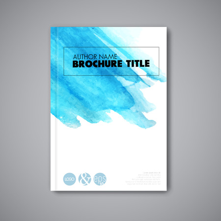 title page: Modern artistic Vector abstract book watercolor cover template - light blue version