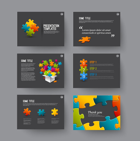 presentations: Vector Template for presentation slides with puzzle pieces and colorful elements - dark version Illustration