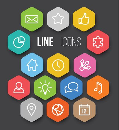 Set of black vector minimalistic thin line icon in color hexagons - white version Illustration