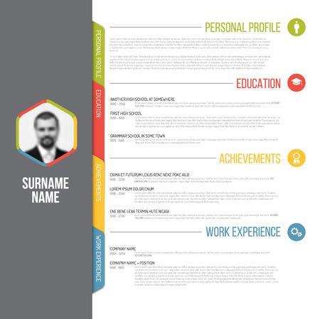 Vector minimalist cv / resume template design with profile photo