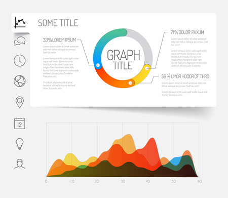Simple infographic dashboard template with flat design graphs and charts - light version