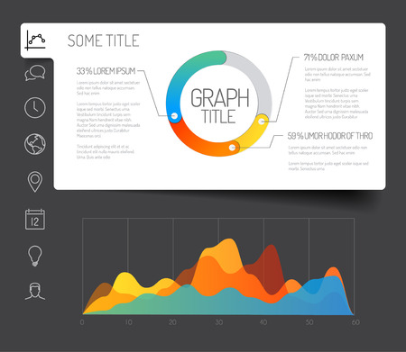 Simple infographic dashboard template with flat design graphs and charts - dark version
