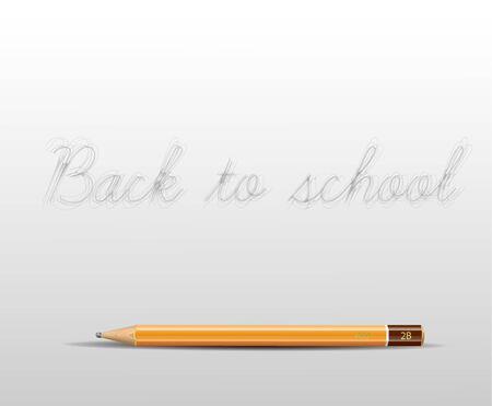 teaching crayons: Back to school poster with detailed pencil and space for your content