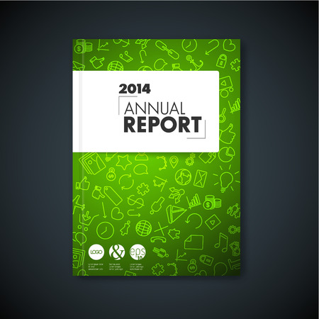 application icons: Modern Vector green abstract brochure  book  flyer design template with application icons