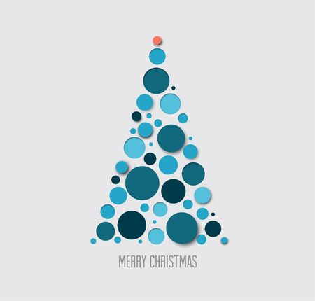 blue card: Vector absract christmas tree card made from blue circles