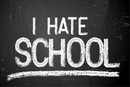 hate: Back to school vector white illustration on chalkboard saying I hate school Illustration