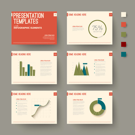 presentation: Vector Template for presentation slides with graphs and charts - retro color version