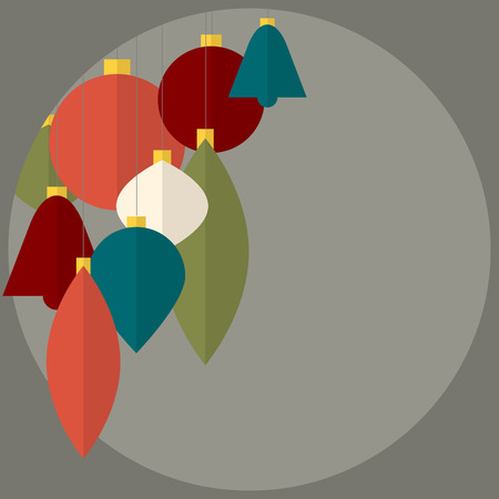 Flat design Abstract Vector christmas decorations - christmas card with retro colors