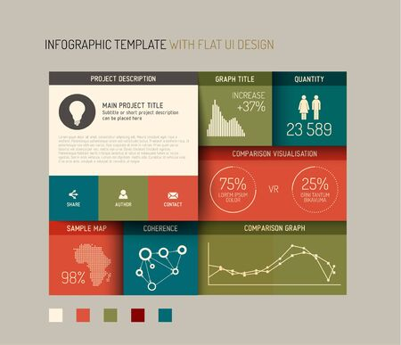 Vector flat user interface (UI) infographic template  design - version with retro colors Illustration