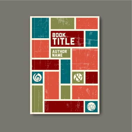 color design: Retro vintage Vector abstract brochure  book  flyer design template - retro color version