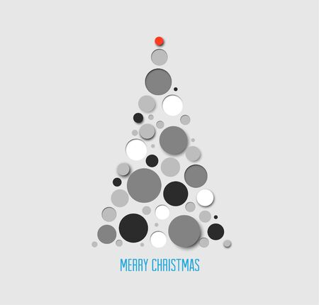 absract: Vector absract christmas tree card made from gray  circles