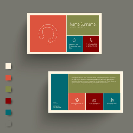 trend: Modern  business card template with flat mobile user interface - retro color version Illustration