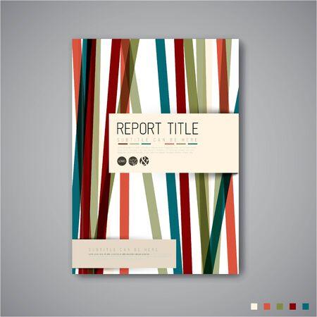 retro color: Modern abstract brochure  book  flyer design template with retro color stripes