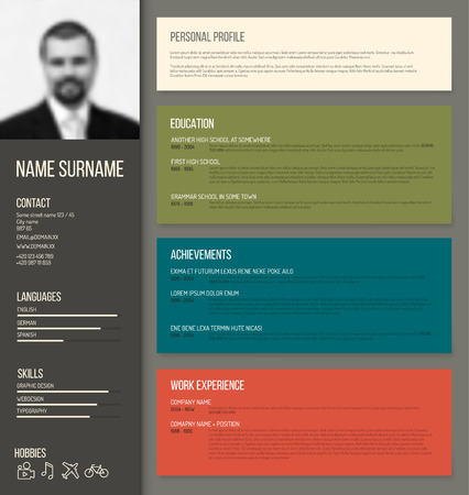 job descriptions: Vector minimalist cv  resume template design with profile photo - retro color version Illustration