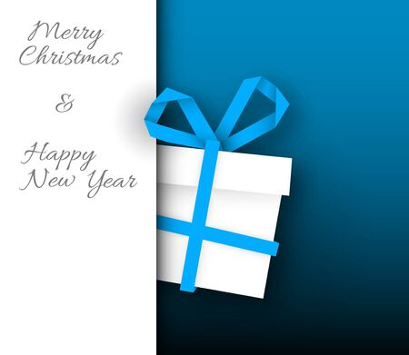 blue card: Simple vector blue christmas card with present box made from paper stripe
