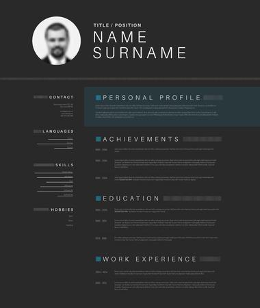Vector minimalist dark gray cv / resume template design with profile photo