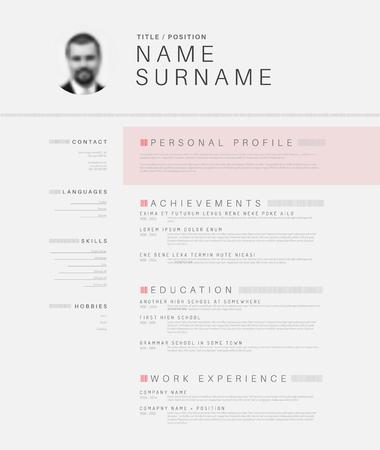 Vector minimalist black and white cv / resume template design with profile photo Stock Illustratie