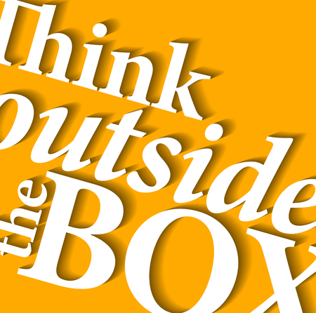outside the box: Minimalistic typographic motivational quote: Think outside the box