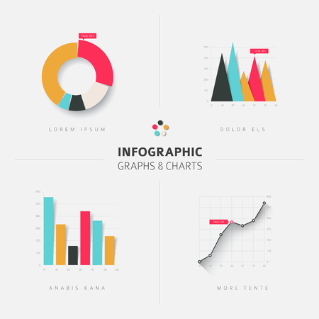 Set of vector flat design infographics statistics charts and graphs - fresh retro color version