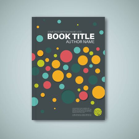 book cover design: Modern dark Vector abstract brochure  book  flyer design template with color circles Illustration