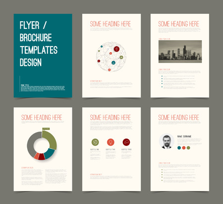 Vector Template for presentation slides with graphs and charts - retro color version