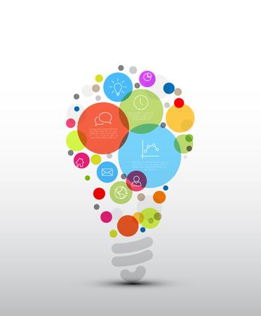 Vector idea Infographic šablona - kruhy s nějakým obsahem ve tvaru žárovky