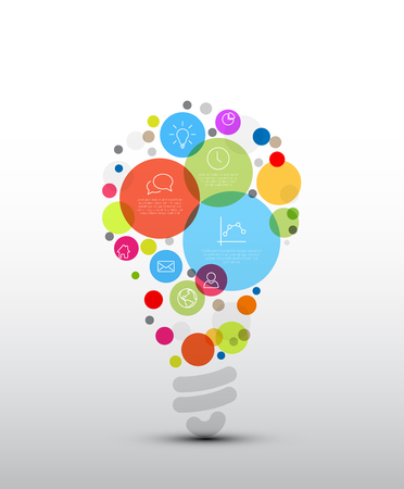 Vector idea Infographic template - circles with some content in the bulb shape Stock Illustratie