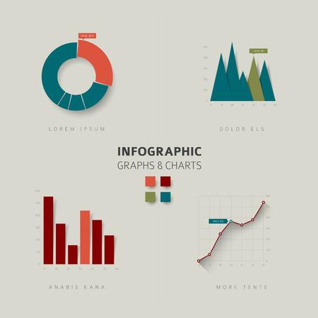 estadisticas: Conjunto de vectores de dise�o plana tablas y gr�ficos estad�sticos infograf�a - versi�n retro de color