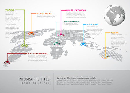 Light World map with pointer marks - communication concept Ilustração