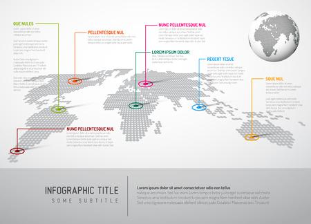mappa: Luce Mappa del mondo con marchi puntatore - concetto di comunicazione