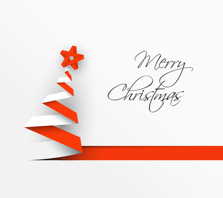 simple background: Simple vector christmas tree made from paper stripe - original new year card