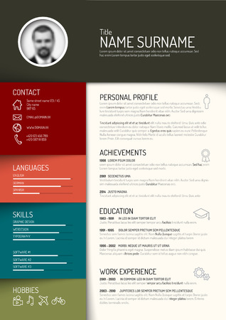 minimalist: Vector minimalist cv  resume template - dark retro color version