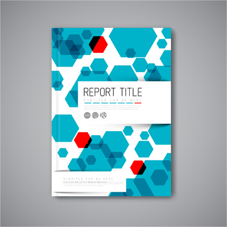 card catalogue: Modern Vector abstract brochure  book  flyer design template with blue and red hexagons
