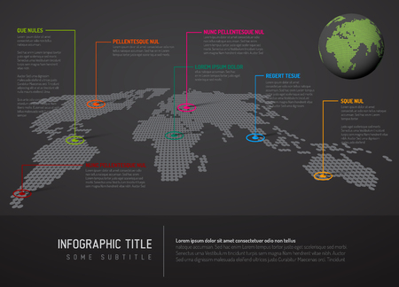 website backgrounds: Dark World map with pointer marks - communication concept Illustration