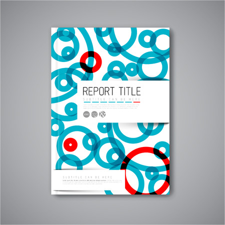 blue book: Modern Vector abstract brochure  book  flyer design template with blue and red circles