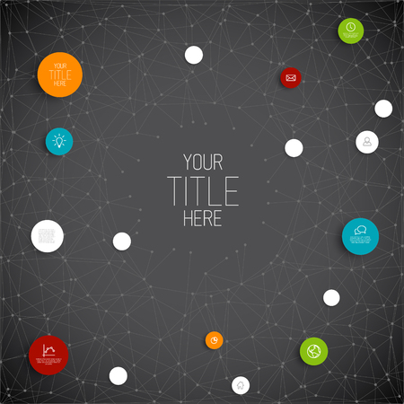 theme: Vector abstract circles illustration  infographic network template with place for your content - dark version
