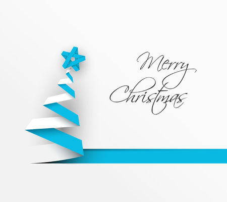 gift ribbon: Simple vector christmas tree made from blue paper stripe - original new year card Illustration