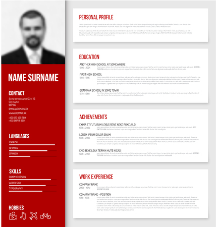 Vector minimalist cv / resume template design with profile photo - red version