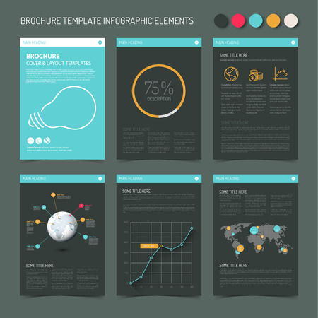 retro dark: Vector Template for presentation slides with graphs and charts - retro dark color version