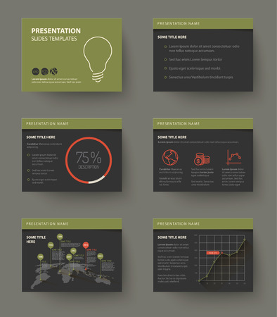 retro dark: Vector Template for presentation slides with graphs and charts - dark retro color version
